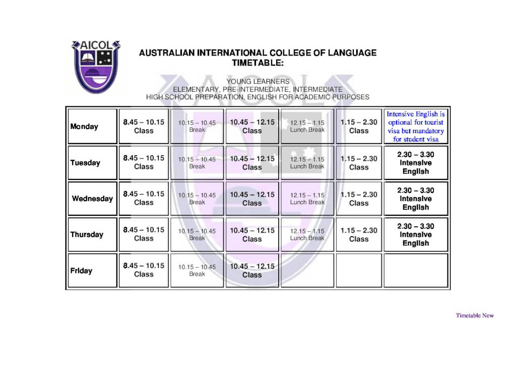 AICOL English Courses Timetable