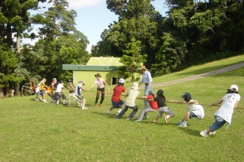 Tug-o-war game at Mystery Mountain