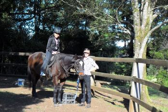Horse riding safety lesson at Mystery Mountain